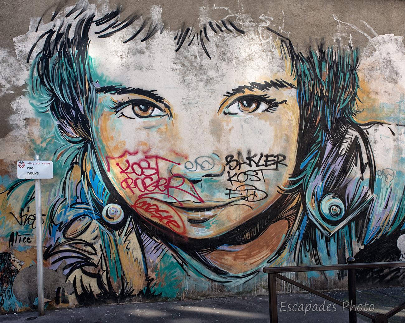 AliCè - visage de fille - rue neuve Vitry sur Seine